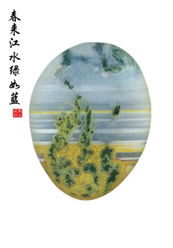马文斌收藏的雨花石 春来江水绿如蓝